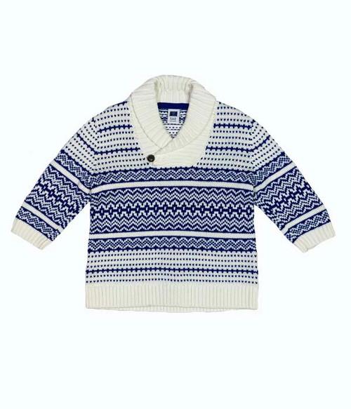 Shawl Collar Fair Isle Sweater, Baby Boys