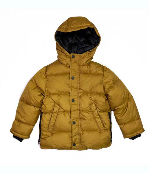 Gold Hooded Puffer Coat/Jacket, Little Boys