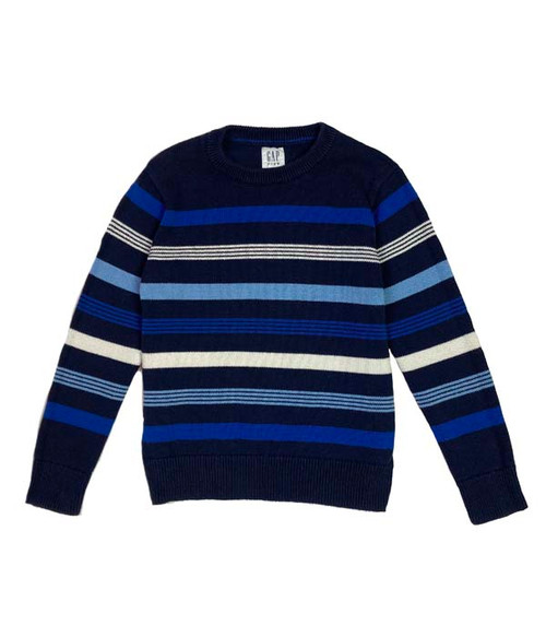 Cool Blue Striped Crewneck Sweater, Little Boys