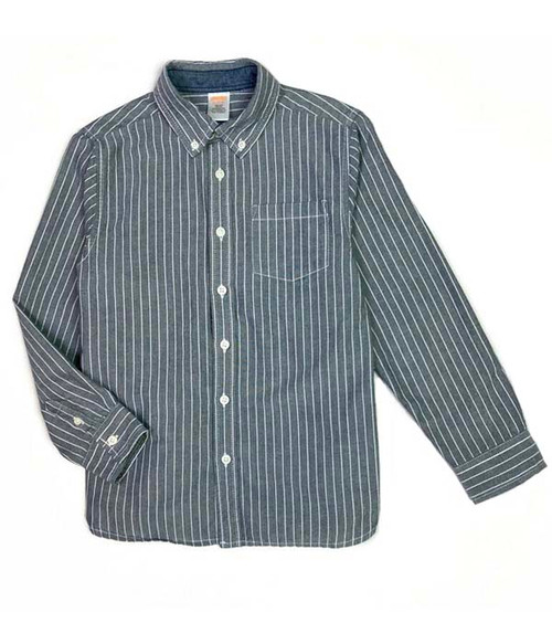 Gray Pinstripe Button-Down shirt, Little Boys