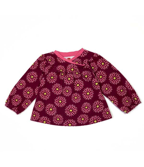 Burgundy Wrap Neck Top, Baby Girls