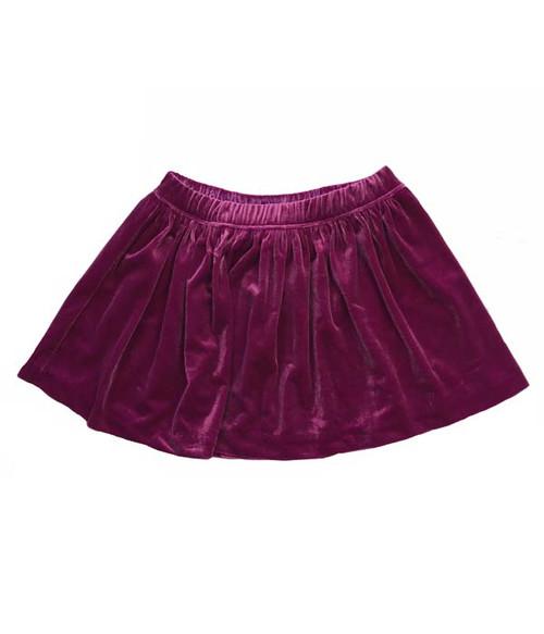Fuchsia Crushed Velvet Skirt, Toddler Girls