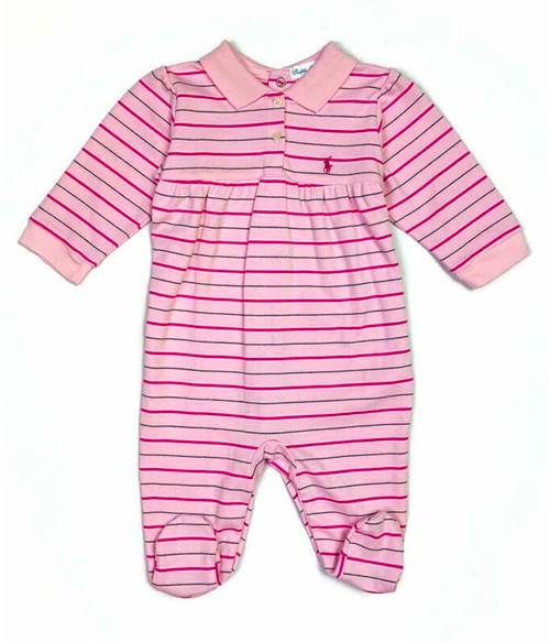 Pink Striped Footed Onesie, Baby Girls