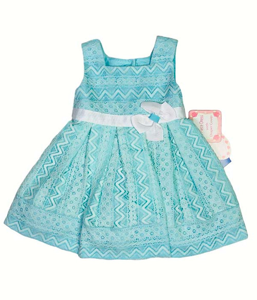 Aqua Lace Special Occasion Dress, Baby Girls