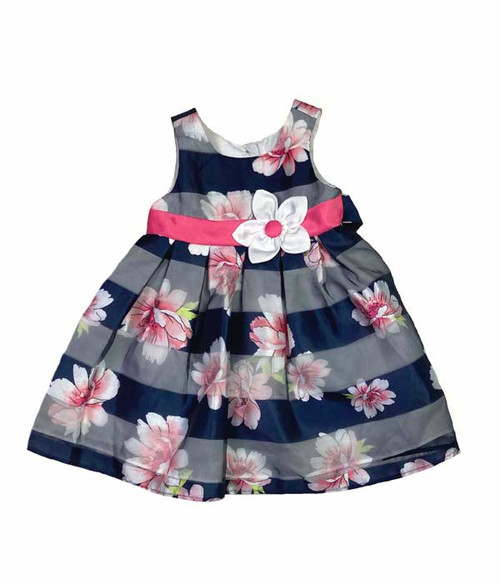 Navy Striped Floral Dress, Baby Girls
