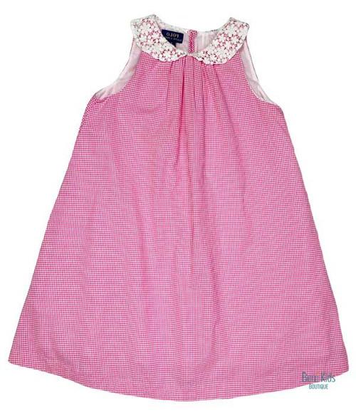 Pink & White Checkered Dress, Little Girls