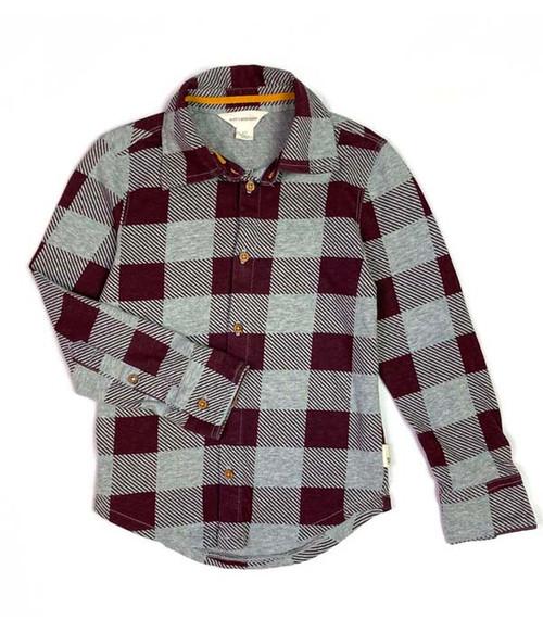 Maroon & Gray Organic Cotton Button Front Shirt, Toddler Boys