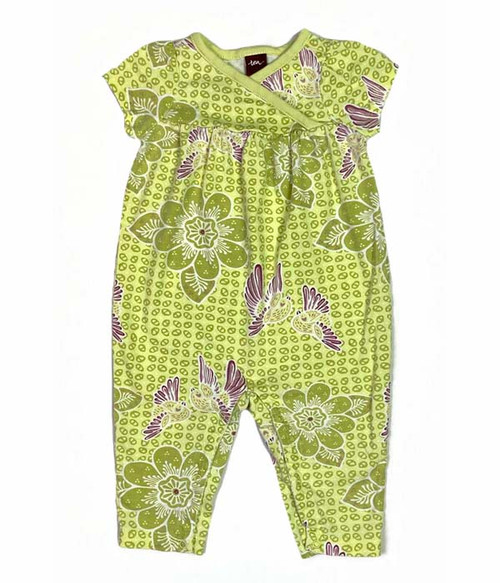Floral Lime Green Romper, Baby Girls