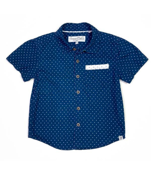 Blue & White Pattern Shirt, Toddler Boys