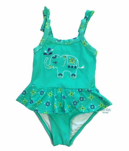 Aqua Elephant Swimsuit, Toddler Girls