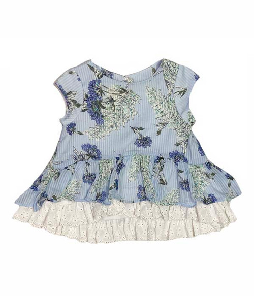 Blue Floral Ruffle Top, Baby Girls