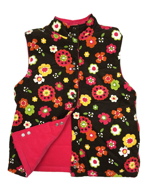 Brown Floral Reversible Corduroy Vest, Big Girls