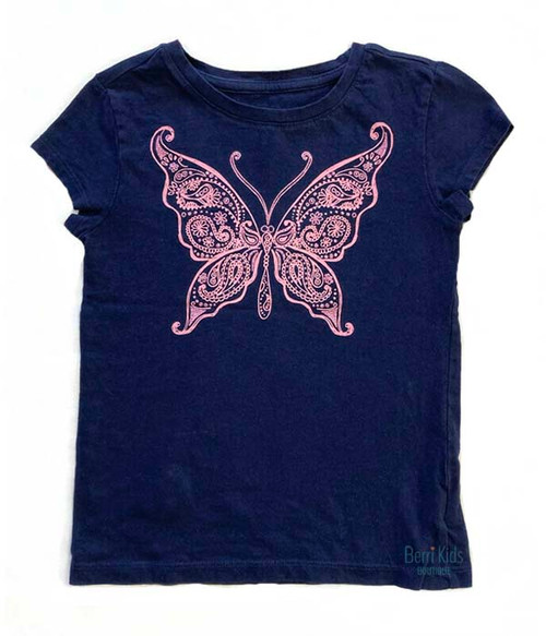 Sparkly Navy Blue Butterfly Top, Little Girls