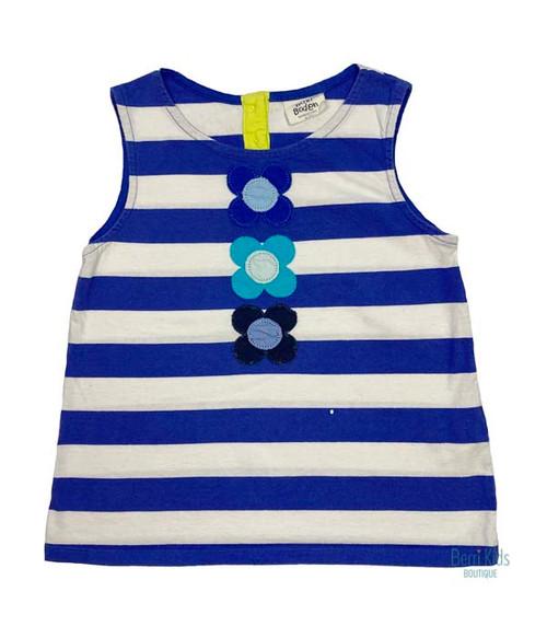 Blue Striped Floral Applique Tank Top, Little Girls