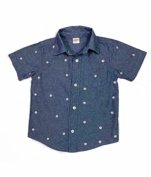 Embroidered Baseballs Button Up Shirt, Toddler Boys