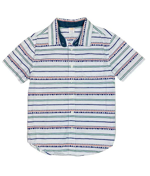White Geometric Stripes Button Up Shirt, Little Boys