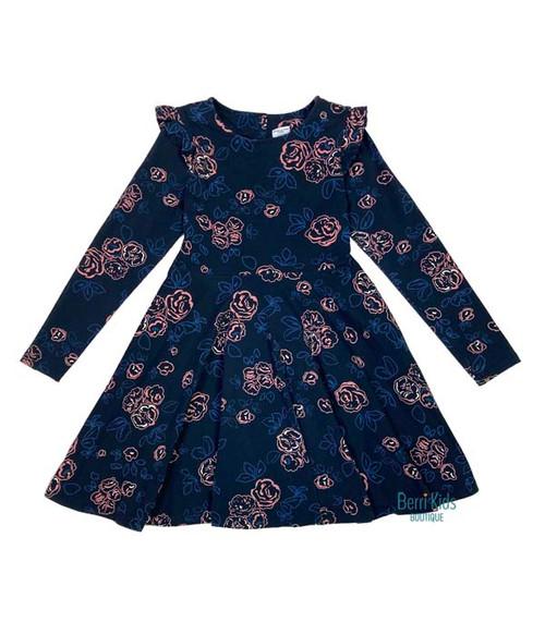 Navy Floral Print Dress, Little Girls