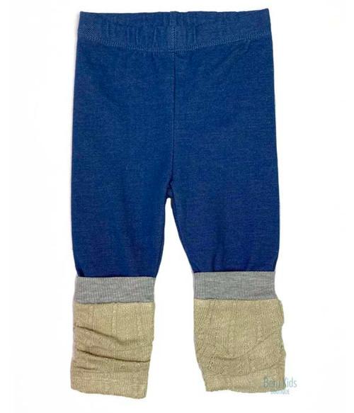 Denim Leggings with Ruched Leg Warmers, Baby Girls