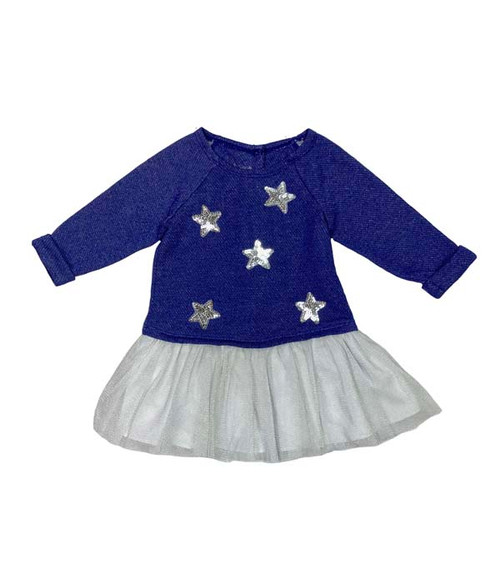 Blue Silver Stars Dress, Baby Girls