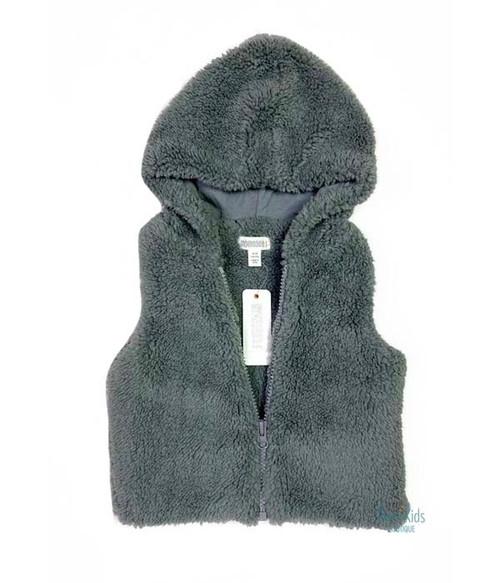 Gray Fuzzy Hooded Vest, Baby Girls