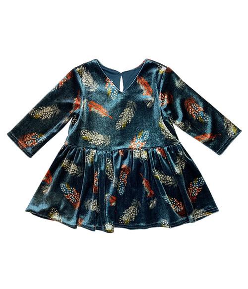Blue Velvet Feather Dress, Toddler Girls