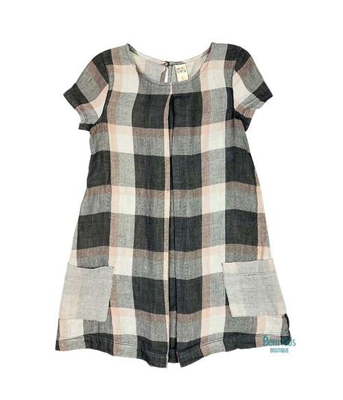 Grey and Rose Plaid Dress, Toddler Girls