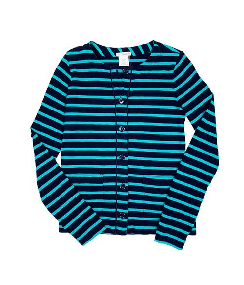 Teal Navy Striped Shirt, Big Girls