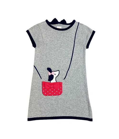 Grey Puppy Sweater Dress, Toddler Girls