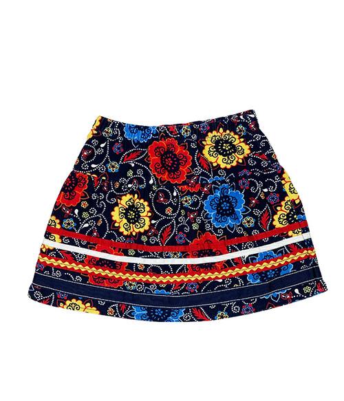 Floral Print Corduroy Skirt, Little Girls