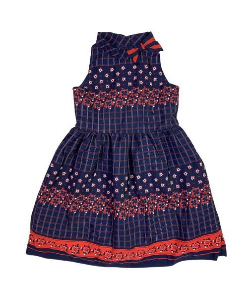 Navy Blue & Red Floral & Plaid Dress, Little Girls