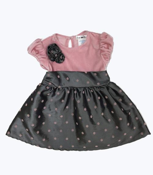 Gray & Pink Polka Dot Bubble Dress, Baby Girls