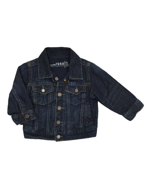 Dark Wash Jersey-Lined Denim Jacket, Baby Boy