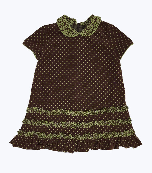 Brown Corduroy Peter Pan-Collar Dress, Baby Girls
