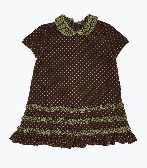 Brown Corduroy Short Sleeve Dress, Baby Girls