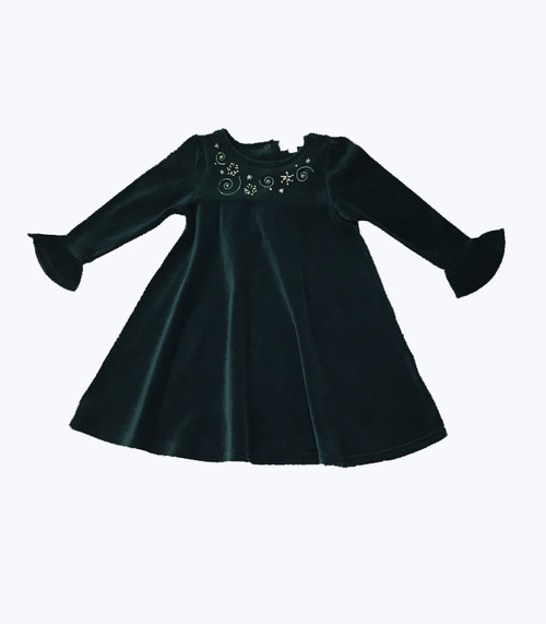 Holiday Green Velour Dress -Swirls & Stars, Toddler Girls