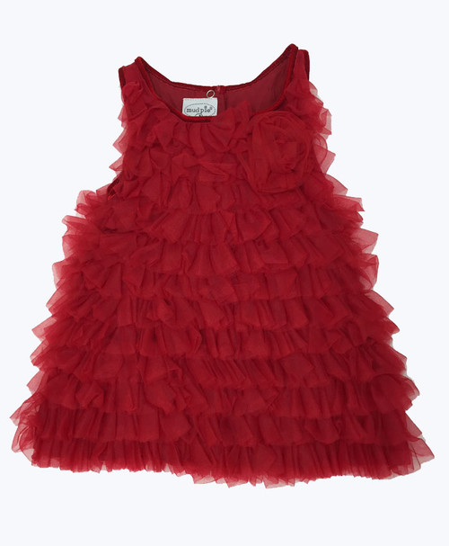 Red Chiffon Tulle Tiered Dress, Toddler Girls