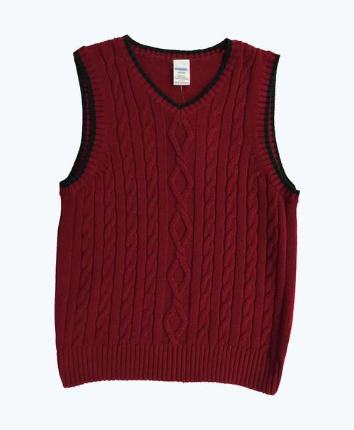 Black Trimmed Red Sweater Vest, Little Boys