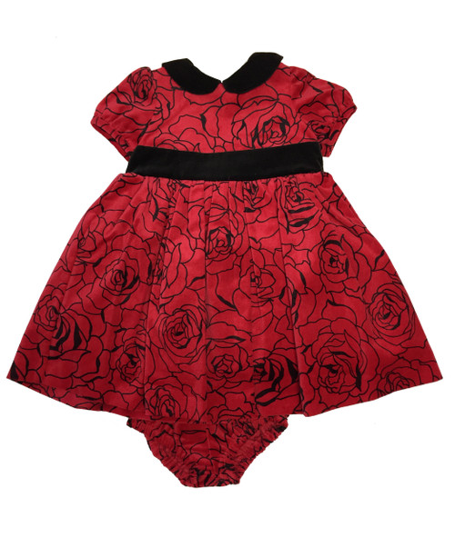 Red Velour Roses Dress, Baby Girls