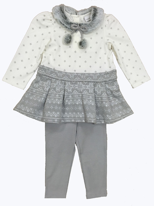 Gray Pom-Pom Tunic & Leggings Set, Baby Girls