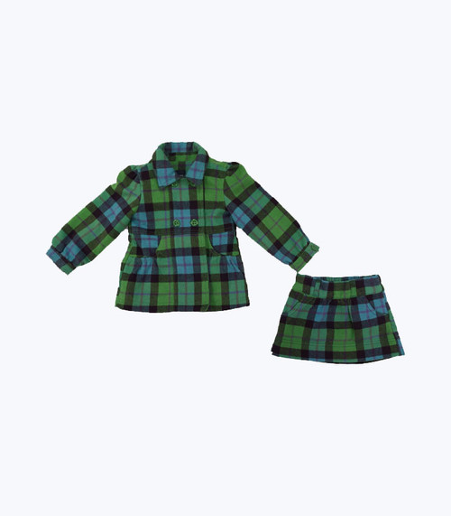 Plaid Fleece Jacket & Skirt Set
