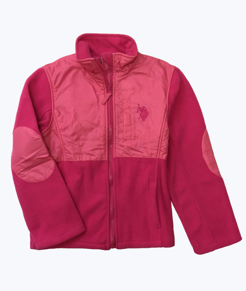 Pink Patch Fleece Jacket, Little Girls