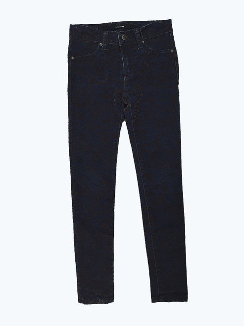 Velvet Print Denim Jeans, Big Girls