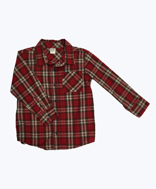 Red Plaid Button-Up Shirt, Toddler Boys