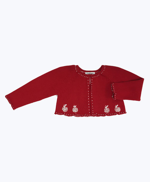 Red Embroided Bolero Sweater