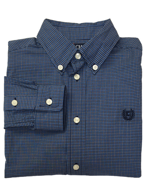 Blue & White Gingham Button Down Shirt, Little Boys