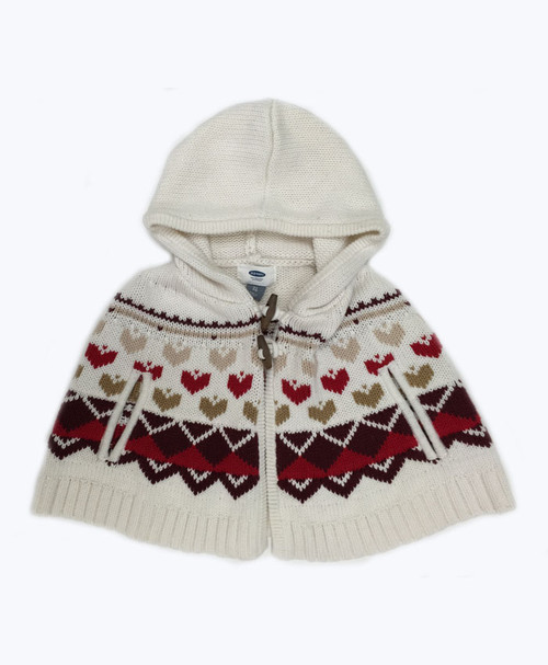 Heart Poncho Sweater, Toddler Girls