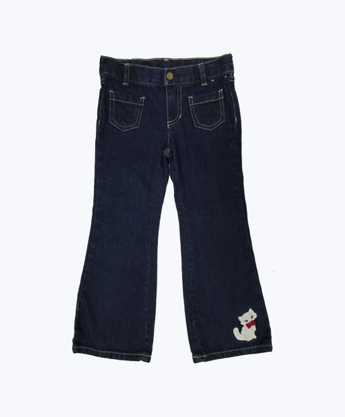 Kitten Appliqued Denim Jeans, Toddler Girls