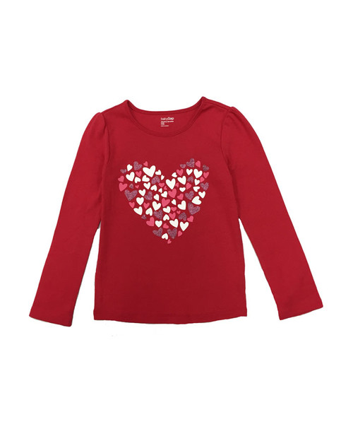 Heart Print Long Sleeve Shirt, Baby Girls