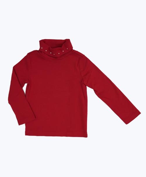 Red Rhinestone Turtleneck Shirt, Toddler Girls