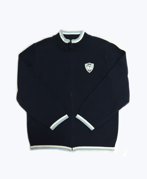 Navy Zip-Up Cardigan, Little Boys